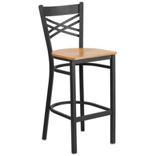 Black ''X'' Back Metal Restaurant Barstool with Natural Wood Seat