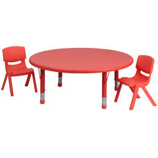 45'' Round Red Plastic Height Adjustable Activity Table Set with 2 Chairs