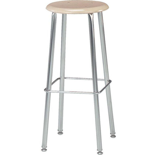 121 Series Stool with Hard Round Plastic Seat - 17.75''W x 17.75''D x 30''H