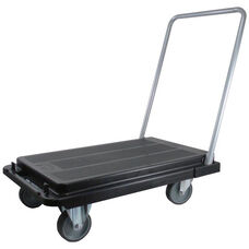 Heavy Duty Flat Platform Folding Cart with 3'' Casters - Black