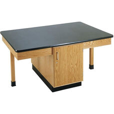 4 Station Wooden Science Table with 1.25'' Thick Black Plastic Laminate Top and Locking Cabinet - 66''W x 42''D x 30''H