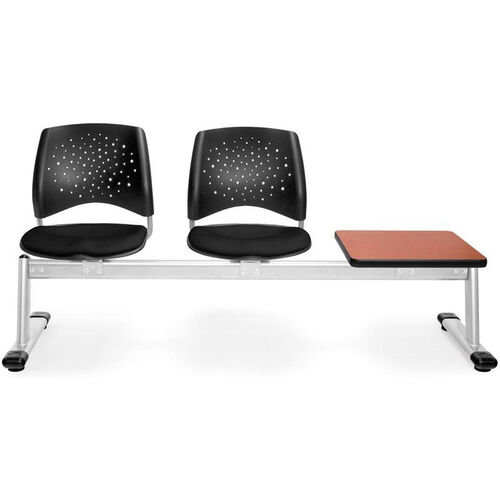 Stars 3-Beam Seating with 2 Black Fabric Seats and 1 Table - Cherry Finish