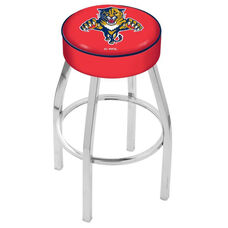 Florida Panthers 25'' Chrome Finish Swivel Backless Counter Height Stool with 4'' Thick Seat