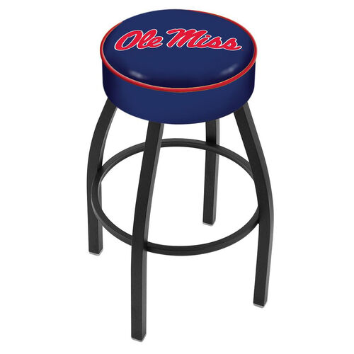University of Mississippi 25'' Black Wrinkle Finish Swivel Backless Counter Height Stool with 4'' Thick Seat