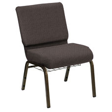 HERCULES Series 21''W Church Chair in Shire Stonewall Fabric with Book Rack - Gold Vein Frame