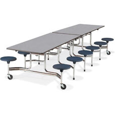 MTS Series Mobile Folding Table with 17''H Stools - Seats 12 - 58''W x 144''D x 29''H