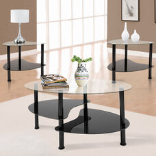 Crescent 3 Piece Scratch Resistant Tempered Glass Coffee Table Set with Black Metal Frame