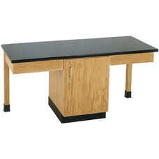 2 Station Wooden Science Table with 1'' Thick Black Phenolic Resin Top and Locking Cabinet - 66''W x 24''D x 30''H