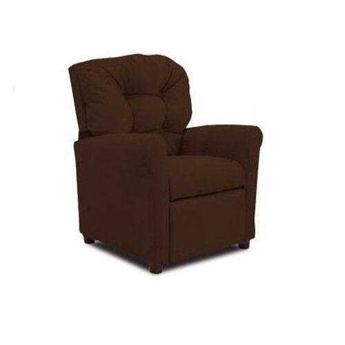 Kids 4 Button Tufted Back Microsuede Recliner - Chocolate