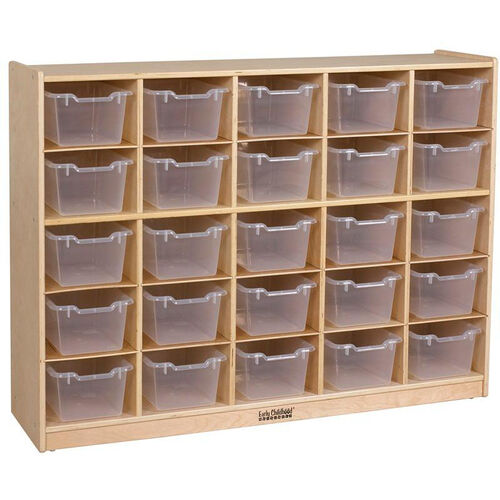 Birch 25 Cubby Tray Cabinet with 25 Clear Bins - 48''W x 13''D x 36''H