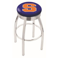 Syracuse University 25'' Chrome Finish Swivel Backless Counter Height Stool with 2.5'' Ribbed Accent Ring