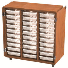 30 Tote Tray Storage Solution (19'' Deep) Open Cabinet with Doors - 42''W x 24''D x 46''H