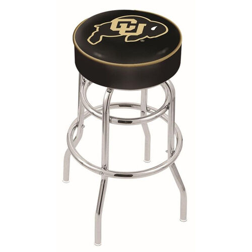 University of Colorado 25'' Chrome Finish Double Ring Swivel Backless Counter Height Stool with 4'' Thick Seat
