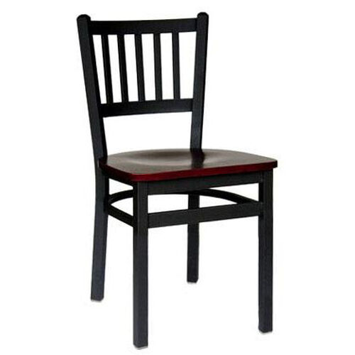 Troy Metal Slat Back Chair - Black Wood Seat