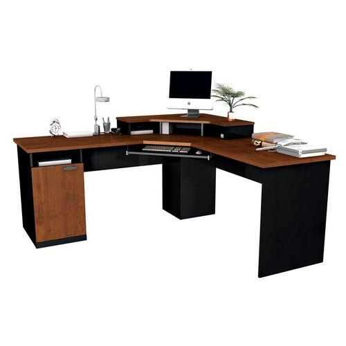 Hampton Corner Workstation with Monitor Shelf and Keyboard Shelf - Tuscany Brown and Black