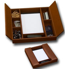 Rustic Leather Enhanced Conference Room Organizer - Brown