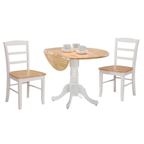 Solid Wood 3 Piece Dual Drop Leaf Table with 2 Ladder Back Dining Chairs - White and Natural