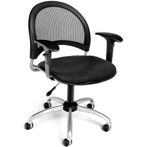 Moon Swivel Chair with Vinyl Seat with Arms - Black