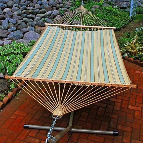 Polyester Fabric and Rope Pocket Design 132'' D Hammock - Crestwood Spa Stripe