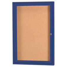 1 Door Indoor Illuminated Enclosed Bulletin Board with Blue Powder Coated Aluminum Frame - 24''H x 18''W