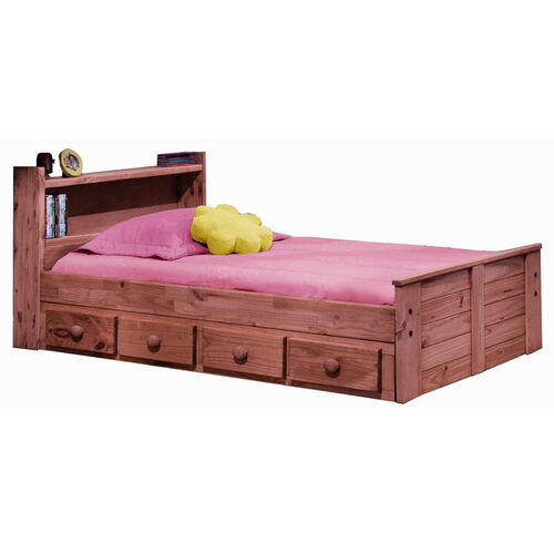 Rustic Style Solid Pine Bed with Bookcase Headboard and Underbed Storage - Twin - Mahogany Stain