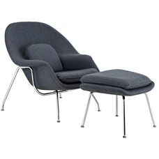 W Lounge Chair and Ottoman Set in Dark Gray