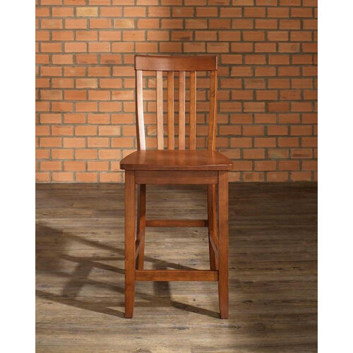 School House Bar Stool in Classic Cherry Finish with 24'' Seat Height - Set of 2