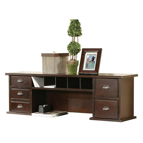 kathy ireland Home™ Tribeca Loft Collection 48''W x 15''H Short Reception Hutch - Burnt Umber Cherry