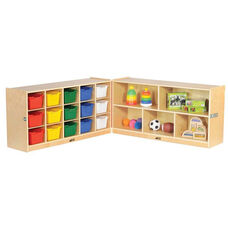 Birch Hardwood Mobile Fold and Lock Cubby Tray Cabinet with Assorted Colors Bins