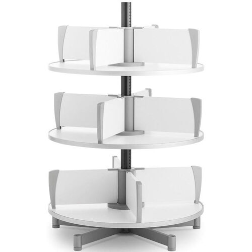 Moll 3 -Tier Rotary Floor Stand Binder Carousel - White