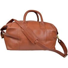 Petite Euro Traveler Bag with Shoulder Strap - Milano Top Grain Leather - Tan