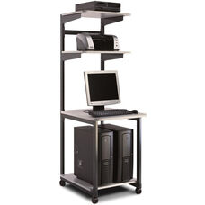 e*LAN Station with Graphite Frame - Ice Gray Theramally Fused Laminate Surface with Graphite Paint