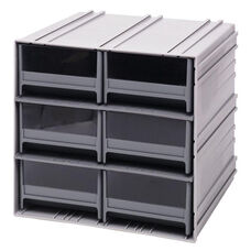 Interlocking Storage Cabinet with 6 Drawers - Gray