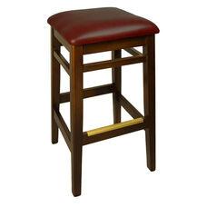 Trevor Walnut Wood Backless Barstool - Burgundy Vinyl Seat