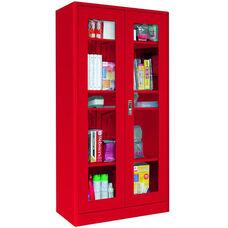 Elite Series 36'' W x 18'' D x 72'' H Radius Edge Clear View Storage Cabinet - Red