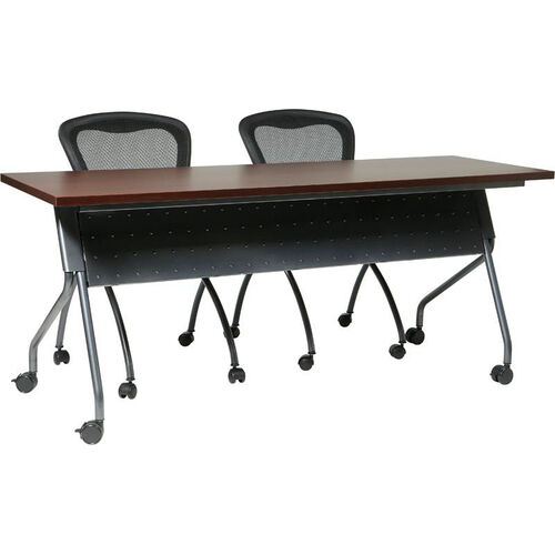 OSP Furniture 60''W x 24''D Training Table - Titanium Frame with Mahogany Top