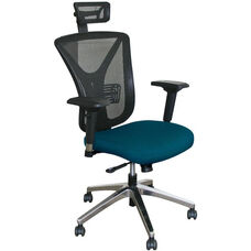 Fermata Executive Mesh Chair with Aluminum Base and Headrest - Iris Fabric