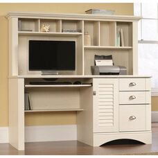 Harbor View 62.25''W Computer Desk with Hutch - Antiqued White