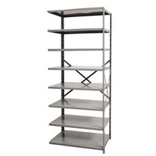 Hi-Tech Open Style 8 Adjustable Metal Shelving Add On Unit - Unassembled - Hallowell Gray - 87''H
