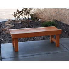 Recycled Plastic Backless 6' Garden Bench with Contoured Seat