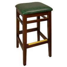 Trevor Mahogany Wood Backless Barstool - Green Vinyl Seat