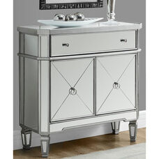 Contemporary 32''W Accent Chest with Mirror Finish - Brushed Silver
