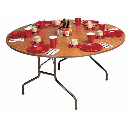 Fixed Height Round High-Pressure .62'' Thick Top Folding Table - 48'' Diameter