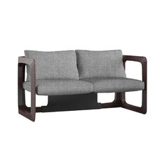 K Contemporary Fabric Upholstered Loveseat with Wood Frame - Gray