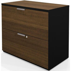 Pro-Concept Lateral File with Two Locking Drawers - Milk Chocolate Bamboo and Black