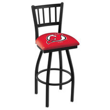 New Jersey Devils 25'' Black Wrinkle Finish Swivel Counter Height Stool with Jailhouse Style Back