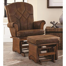 Sleigh Back Glider with Solid Sides and Arm Pads - Legacy Oak Finish