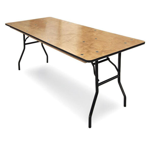 18''W x 72''D Plywood Folding Table with Locking Wishbone Style Legs