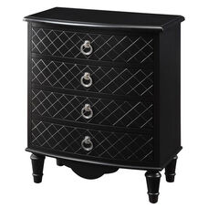 Contemporary 33''H Bombay Accent Chest with Diamond Finish - Black