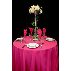 120'' Renaissance Stain Resistant Series Round Tablecloth - Magenta